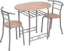 Essgruppe Küchenbar Küchentisch Sitzgruppe Balkonset mit 2 Stühlen und 1 Tisch Farbwahl (Natur)