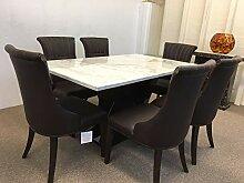 Esstisch aus echtem Marmor, Weiß, 6 Stühle aus