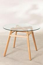 Esstisch aus Glas und Buchenholz (Ø80 -Ø120 cm)