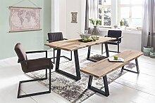 Esstisch Baumkante Esszimmertisch Massivholz Akazie Natur 180 x 80 x 76 cm Baumstamm Küchentisch mit Metallgestell Schwarz