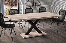 Esstisch Mila ausziehbar 130cm - 210cm Wildeiche Küchentisch Design bi colour Säulentisch