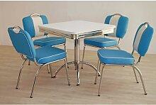 Esstisch mit 4 Stühlen in Blau Weiß gestreift