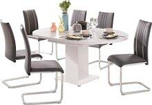 Esstisch, mit Auzugsfunktion in 2 Größen weiß