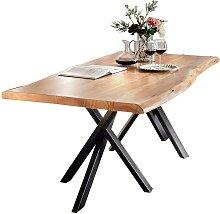 Esstisch mit Baumkante Akazie massiv Schwarz Stahl