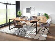 Esstisch mit Sheesham Holztisch, Metallbeine braun
