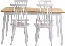 Esstisch mit Stühlen aus Holz massiv Eiche Weiß