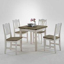 Esstisch mit Stühlen im Landhausstil Weiß Grau