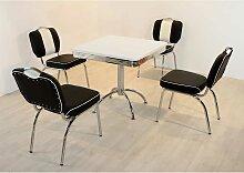 Esstisch mit Stühlen im Retro Style Schwarz Weiß