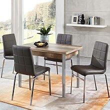 Esstisch mit Stühlen in Eiche Sonoma und Grau