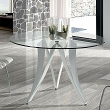 Esstisch, rund, Design Marion aus Glas und Metall,