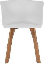 Esstisch Stühle aus Kunststoff und Massivholz