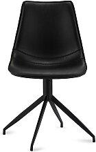 Esstisch Stühle drehbar Schwarz Kunstleder (2er
