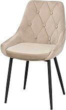 Esstisch Stühle in Beige Samt Knöpfen verziert