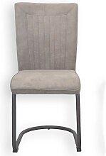 Esstisch Stühle in Grau Braun Microfaser Stahl