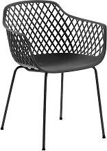 Esstisch Stühle in Grau Kunststoff Armlehnen (4er