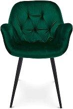 Esstisch Stühle in Grün Samt Metallgestell (2er
