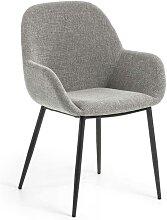 Esstisch Stühle in hell Grau Webstoff