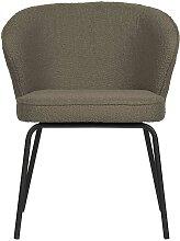 Esstisch Stühle in Hellbraun Boucle Stoff modern