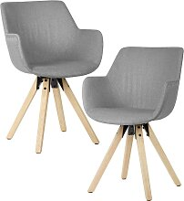 Esstisch Stühle in Hellgrau Webstoff Armlehnen