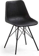 Esstisch Stühle in Schwarz Kunstleder