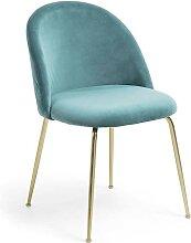 Esstisch Stühle in Türkis Samt Retro Design (2er