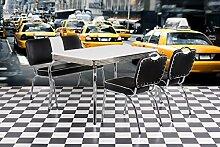 Esstisch, Tisch, Küchentisch, Diner-Tisch, American Diner, Esszimmertisch, rechteckig, weiß, verchromt, Oldschool, Vintage