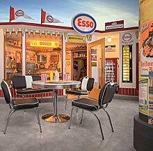 Esstisch, Tisch, Küchentisch, Diner-Tisch, American Diner, Esszimmertisch, rund, weiß, verchromt, Oldschool, Vintage