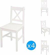 Esstisch und Stühle, Holz, Weiß, 4 Stück