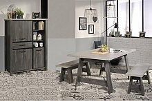 Esszimmer Maxim 5 Eiche grau 4-teilig Esstisch Sitzbank Highboard Tisch Bank Kommode Landhausmöbel
