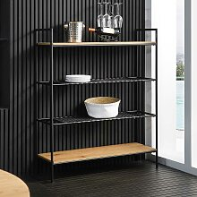 Esszimmer Regal in Schwarz und Holz Naturfarben