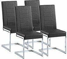 Esszimmer Stühle / Schwingstuhl 4-er Set Christiano / Freischwinger ohne Armlehne in modernem Design / Lederimitat / Stuhlset Schwarz / 61 x 43 x 99 cm / (T x B x H)