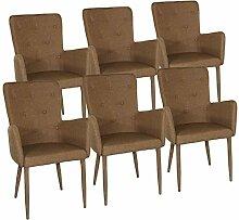 Esszimmer-Stuhl-Set 6 Stück Armlehner Stuhl Anja