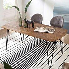 Esszimmer Tisch aus Sheesham Massivholz und Metall
