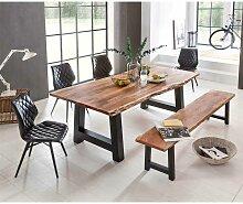 Esszimmer Tischgruppe mit Baumkantentisch und Bank Loft Design (6-teilig)