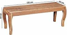 Esszimmerbank Holz Akazie Massiv 120 cm ohne Lehne | Sitzbank Esszimmer Barock Style | Küchenbank für 2 Personen freistehend Natur