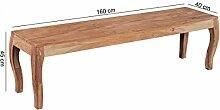Esszimmerbank Holz Akazie Massiv 160 cm ohne Lehne | Sitzbank Esszimmer Barock Style | Küchenbank für 4 Personen freistehend Natur