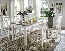 Esszimmergruppe in Weiß Grau Landhaus Design