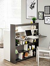 Esszimmerschrank mit Klapptisch Kendra 1 104x115x59 cm grau weiß Multifunktionsregal Raumteiler Schrank Highboard Beistellschrank