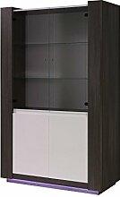 Esszimmerschrank, Vitrine, 120 cm breit, Optik: Grau / Weiß