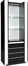 Esszimmerschrank, Vitrine, 72 cm breit, Optik: Schwarz / Weiß