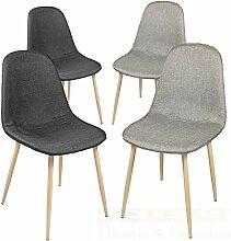 Esszimmerstühle 2/4/6/8 St. Essstuhl Esszimmerstuhl Lehnstuhl Stuhlgruppe Stuhl (4 Stück, Grau / Schwarz)
