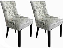 Esszimmerstühle 2er Set Cocktailsessel mit Buchstabendesign - Stühle mit Polsterung modern altweiß