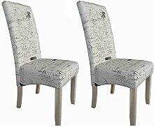 Esszimmerstühle 2er Set Hochlehner Küchenstuhl mit Schrift Muster Design - heller weißer Stoff + Holzbeine