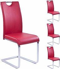 Esszimmerstuhl 4er Set rot aus Kunstleder Schwingstuhl Freischwinger mit Griff Chrom