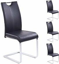 Esszimmerstuhl 4er Set schwarz aus Kunstleder Schwingstuhl Freischwinger mit Griff Chrom