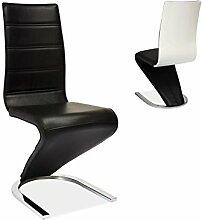 Esszimmerstuhl 6er Set 'Marino' Freischwinger Kunstleder Stuhl Schwingstuhl Küchenstuhl, Farbe:Schwarz / Weiß
