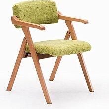 Esszimmerstuhl aus massivem Holz, nordischer schlichter Stuhl, kreativ mit Armlehnen Klappstuhl, Schreibtischstuhl, Konferenzstuhl, lässig Stuhl ( Farbe : Grün )