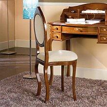 Esszimmerstuhl in Nussbaumfarben und Creme Weiß italienischen Design
