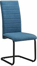 Esszimmerstuhl PANAMA 4er Set Küchenstuhl Polsterstuhl Schwingstuhl Freischwinger in blau