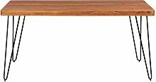 Esszimmertisch aus Akazie Massivholz Metall Schwarz